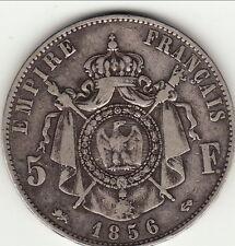 5 FRANCS  NAPOLEON III TETE NUE 1856 D cote 200 euro TTB