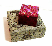 Beaded Fabric Jewelry Boxes, Set of Two