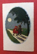 CPSM. Illustrateur C. GIRIS. 1928. Couple Enfants. Lune. Ciel Etoilé. Médaillon.