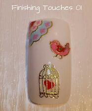 Nail Art Sticker- Gold Bird #442 TJ097 Transfer Heart Valentine Metallic