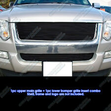 Fits 2006-2007 Ford Explorer Black Billet Grille Combo