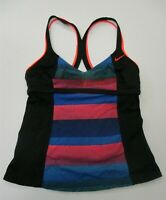 NIKE Swimwear Women's Size S Stripe Blue/Pink Racerback Black Tankini Top
