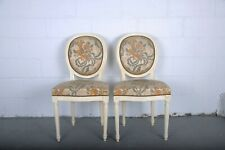 Pair of 1960's Louis XVI French Medallion Oak Dining Chairs