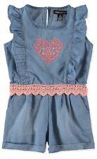 US Polo Assn Pink Lace Heart Light Blue Denim Wash Romper Jumper Size 5/6 NWT