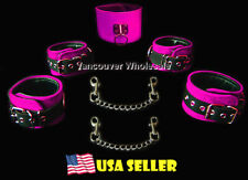 7pc Real Leather Suede Black Pink Restraint Wrist Cuffs Ankle Posture Collar Set
