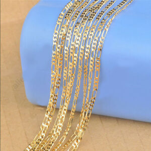 1PCS 16-30inch Jewelry 18K Yellow Gold Filled 2.5MM Figaro Chain Necklaces TOP