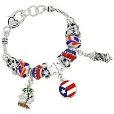 Puerto Rico Bracelet Charm Sliding Bead Lighthouse Flag Palm Tree SILVER Heart