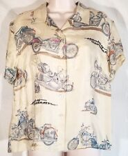 Harley-Davidson Women L Beige Silk Button Up Blouse Shirt Graphic Motorcycles