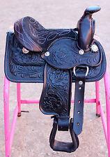 "8"" Western Kids Saddle Black Miniature Toddler Saddle"