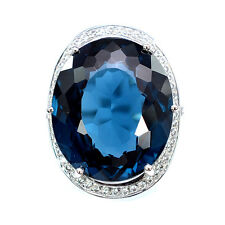 LUXURIOUS 23.9 CT LONDON BLUE TOPAZ & SAPPHIRE STERLING SILVER 925 RING SIZE6.25