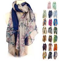 Pretty Women's Fashion Long Soft Wrap Lady Floral Shawl Chiffon cotton Scarf