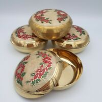 Vintage Solid Brass Trinket Dish Hand Painted Enamel