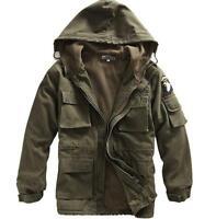 Men's Military Thicken Winter Hooded Fleece Lined Jacket Coat Overcoats Working