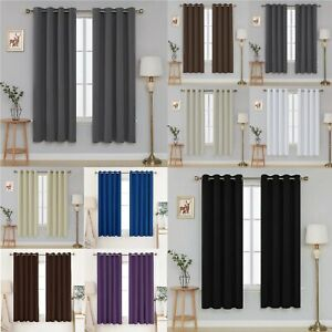 Deconovo Thermal Insulated Blackout Super Soft Eyelet Curtains 2 Panels