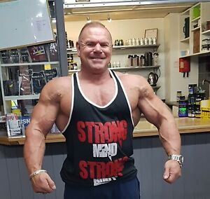 GASP WOW Body build vest muscle, stringer black and red muscle vest gym