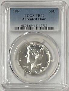 1964 Silver Kennedy Half Dollar Accented Hair PCGS PR69 -  Pop 63