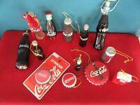 204.  Huge Lot of 12 COCA COLA Soda Pop Christmas Ornaments + Lip Smacker