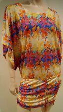 LULI FARMA Multi Colour Floral Scoop Neck Tie Waist Cover Up Kaftan Beach Dress