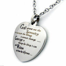 """Serenity Prayer Pendant Heart Shaped, Stainless Steel, 18"""" Chain, FAST USA Ship"""