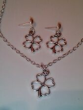 Four leaf clover necklace and earring set silver in colour 18 inch chain studs