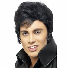 Elvis Rock N Roll 1950's Wig Black Quiff Adult Men's Fancy Dress Costume