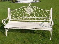 Large bench French Shabby Chic Vintage Style Metal Wrought Iron Garden Bench