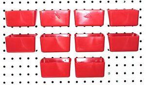 Small Plastic Red Pegboard Storage/Part Bins - 10 Pack, JSP Brand