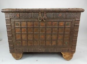 Antique Indian teak wood  and hammered iron Damchiya Dowry Chest 49 inches