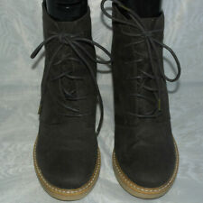 FOREVER 21 WOMENS BROWN LACE UP TEXTILE ANKLE BOOTS SIZE:5.5/38.5(WB2038)