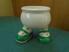 VINTAGE WALKING WARE EGG CUP - GREEN SPOTTY SHOES - CARLTON LUSTRE WARE