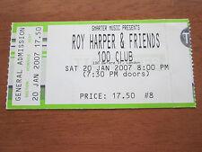 ROY HARPER  - 100 CLUB 100 OXFORD STREET LONDON 20.1.2007 USED CONCERT TICKET