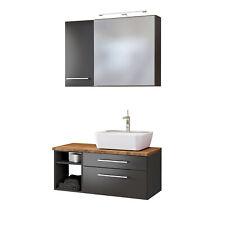 Badmöbelset Waschtisch mit Aufsatzbecken Hängeschrank Spiegelschrank grau matt