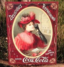 COKE Coca Cola Sign Tin Vintage Garage Bar Decor Old Lady Woman Portrait 5 Cents