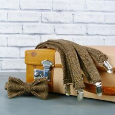 Handmade Yorkshire Tweed Bow Tie and Braces - Brown Herringbone