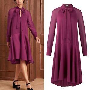 ME AND EM Purple Swing Dress Uk 16 L Bow Sheer Sleeve Elegant Me + Em Event