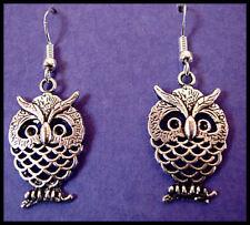 ANTIQUE TIBETAN SILVER OWL EARRINGS