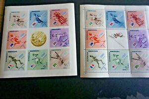 1957 Dominican Republic S# 479-83 & C100-102 Olympics souv sheet perf & imperf *