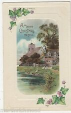 A Merry Christmas, Ivy, Rural Embossed Postcard, B520