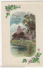 A Merry Christmas, Ivy, Rural Embossed Postcard, B520