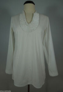 ADRIENNE VITTADINI White Tunic Top size M, crease detail at neck line, stretch