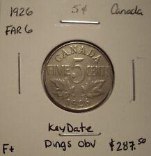 Canada George V 1926 Far 6 KeyDate Five Cents -  F+