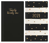 2021 Week to View Diary Slim Hardback Padded Gold Foil Fashion Year Planner