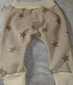 Hose Babyhose Pumphose Mitwachshose 56 62 68 beige mit Sternen Sweat