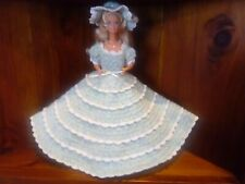 Home made crocheted Toy Barbie Doll Dress Hat, Mint & white lace trim, Ooak, New