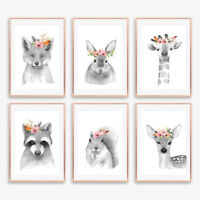 Neutral Grey Floral Boho Animal Nursery Prints Childrens Bedroom Decor Pictures