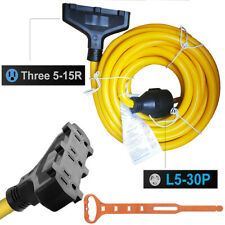 Generator Extension Cord 25 Feet 30amp 125250 Volt Nema L5 30p To Three 5 15r