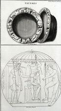 Patères Anciens Religion romaine Sacrifice Antiquité Montfaucon - Gravure XVII