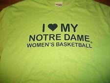 Notre Dame I (HEART) MY WOMEN'S BASKETBALL 2005-06 Roster Green T-Shirt Lg New