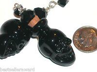 1pc.Small Glass Skull BOTTLE Head Witch skeleton perfume bottle pendant Black