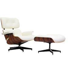 Mid-Century Lounge Chair & Ottoman Palisander White Italian Leather
